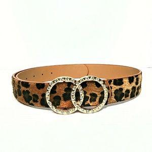 Leopard Print Rhinestone Belt